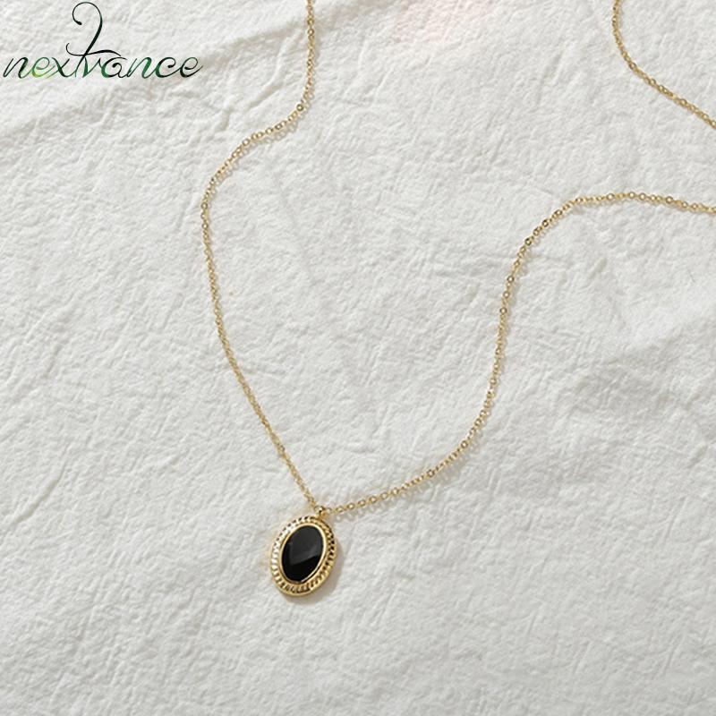 Nextvance óvalo collar de la gota del aceite amante Negro colgante de la manera elegante simple de acero inoxidable para las mujeres de la familia joyería de la muchacha regalo