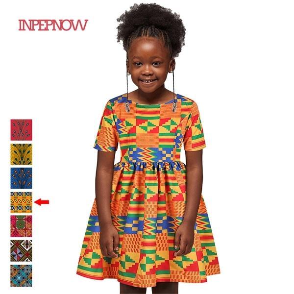 INPEPNOW 2020 Ropa florales vestido de la princesa africana para las muchachas de la vendimia de verano para niños Bohemia del estilo de la muchacha Vestidos LYQ001 0923