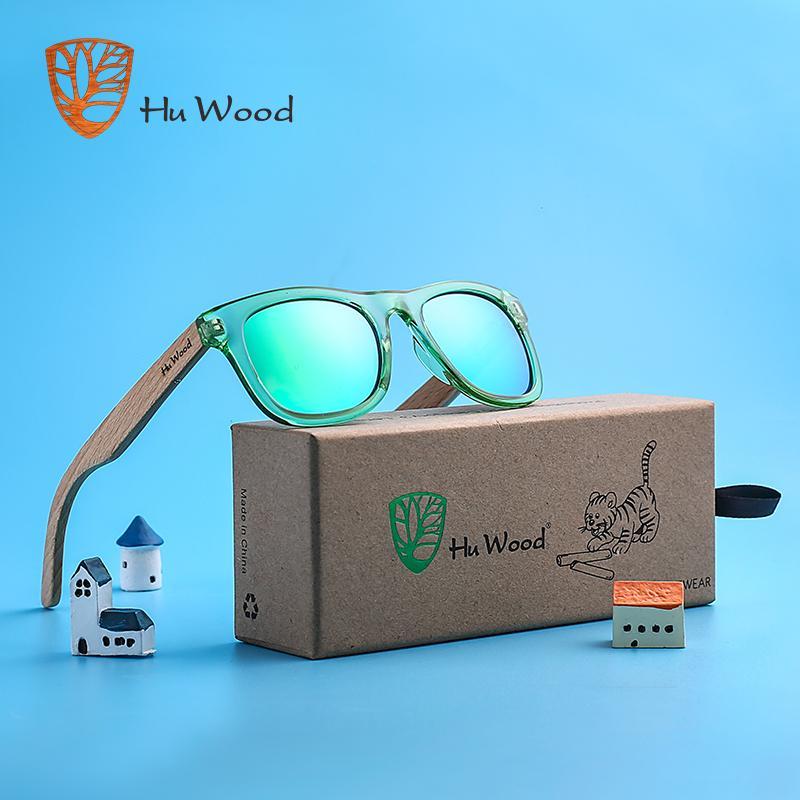 Hu madera para niños gafas de sol polarizadas para niños y niñas con reciclado y marcos de madera de haya armas | 4 a 8 años
