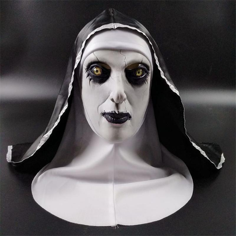 5 Styles 2020 Halloween The Nun Horror Mask Cosplay Valak Scary Latex Masks Full Face Helmet Demon Halloween Party Costume Props 2018 New