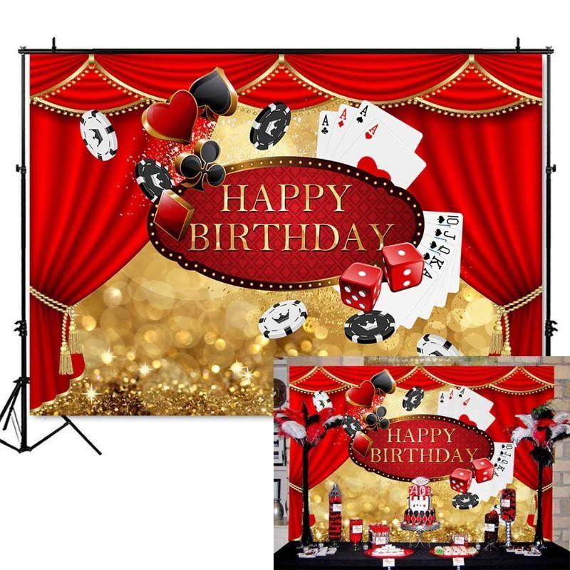 MEHOFOTO Casino Birthday Party Background Las Vegas Birthday Backdrop Casino Curtain Decorations Photography Backdrops