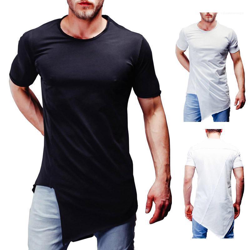 Пуловер с коротким рукавом Чистого Mens Tops дышащих вскользь подростковой одеждой Нерегулярного Mens конструктора Tshirt