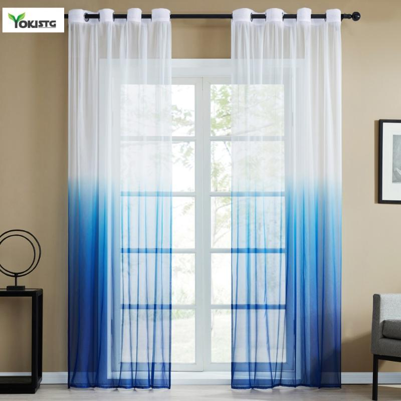 YokiSTG Gradient Sheer Curtains Window Tulle Curtains for Living Room Bedroom Kitchen Home Decor Include Curtain and Tie Rope