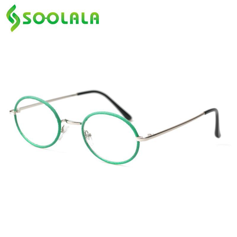 SOOLALA Oval Round Reading Glasses Women Men Alloy Denim Eyeglasses Frame Presbyopic Glasses Leesbril Mannen +0.5 to 4.5 5.0