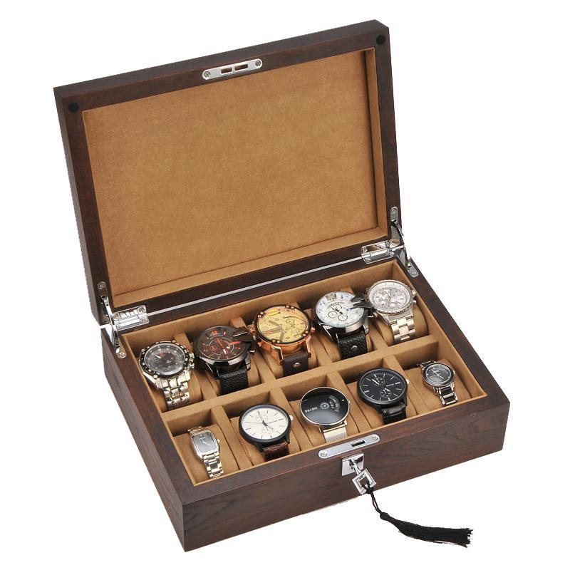10 слотов моды для мужчин дома деревянные часы коробки высокого качества часы хранения организатор коробка 200910-08