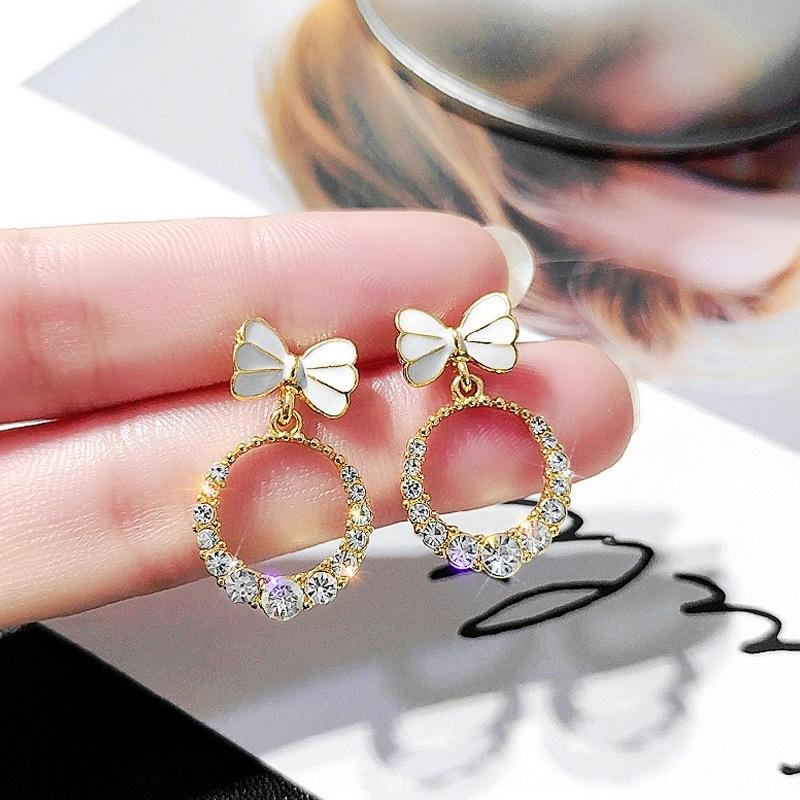 NDq9D S925 argent aiguille boucles d'oreilles diamant papillon diamant bowknot nouvelles boucles d-oreilles de personnalité exquise sens avancé des femmes simp tout match