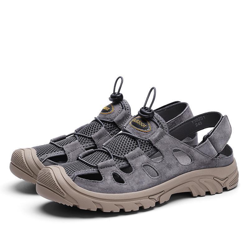 Herren Sandalen echtes Leder-Sommer-Schuhe Mann Outdoor-Sandale aushöhlen Breath 38-44
