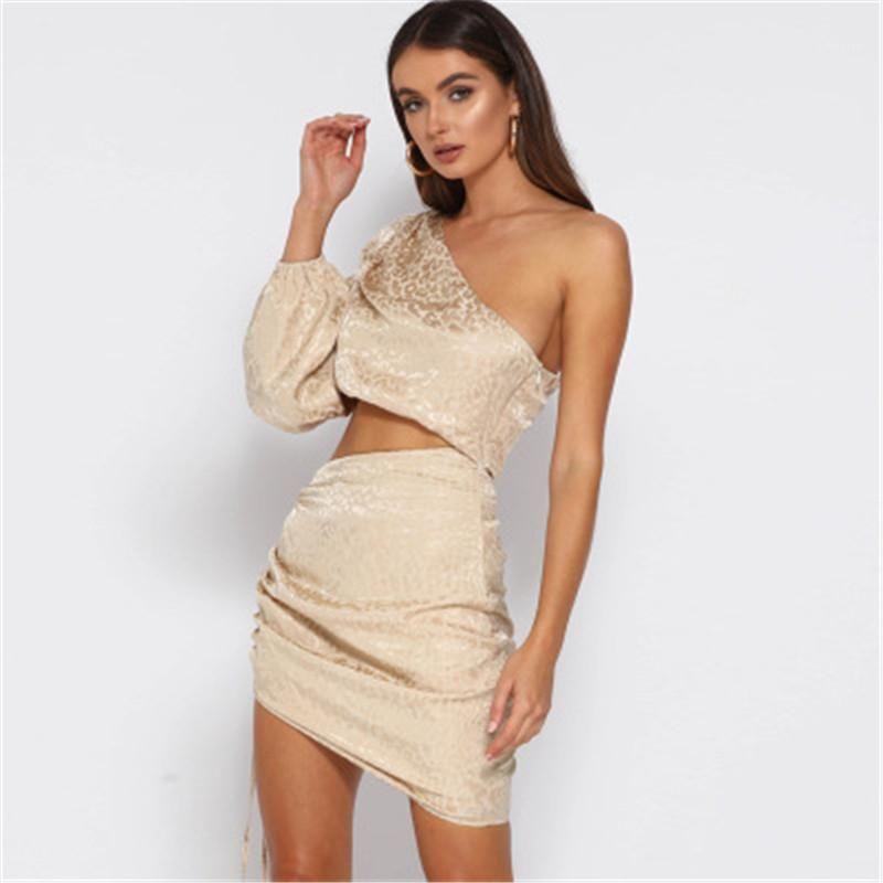 Mujer nuevo flaco ocasionales atractivas señoras de la falda corta de las señoras de un hombro vestidos de tendencia de la moda casual ajustado de manga larga falda Navel diseñador
