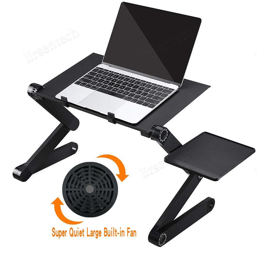 Ajustable de escritorio del ordenador portátil con ventilador de refrigeración ergonómico de aluminio portable Lapdesk tabla de la bandeja del ordenador PC Notebook Stand Soporte de escritorio Con alfombrilla de ratón