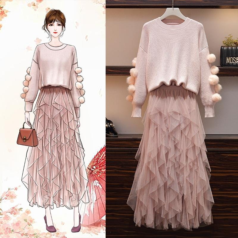 Suit for women 2020 Autumn/winter new Korean version of fashion age-reducing loose-fitting sweater mesh skirt two-piece western style