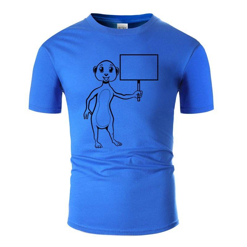 Shirt NUOVO DISEGNO DI STILE Meerkat Felice Shield T per i Mens cotone lettere Uomo Nero Maschio T-shirt manica corta 2020