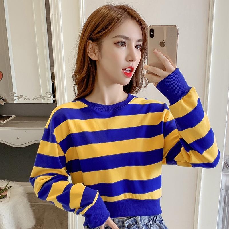 Frauen-Pullover 2020 Herbst-neue koreanische Art Art und Weise loser dünnes Internet Kurzmantel Berühmtheit gestreifter Rundhalsausschnitt lange Hülse Kurzmantel tren