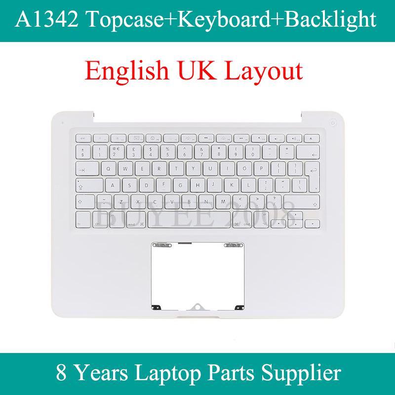 Notebook Branco Inglês A1342 Topcase Substituição para A1342 UK Keyboard Backlight Top Case Capa Descanso de mãos 2009 2010 Ano
