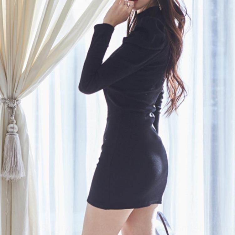 2020 Caída de zhzyw / Invierno Mujer Nuevo estilo de Corea de la moda otoño / invierno delgada en forma de hip-cubierta basa el vestido 2020 del temperamento de las nuevas mujeres de Corea