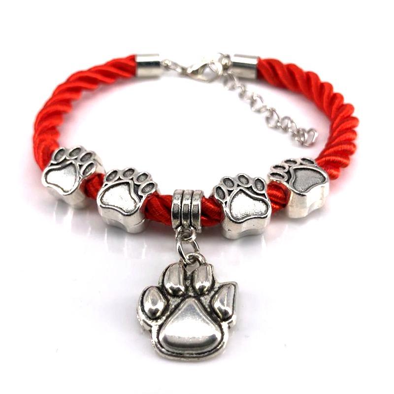2020 New Hand gesponnene 8 Farben-Seil-Ketten-Armband Hund Charm Armband für Haustier-Liebhaber Großhandel B18084