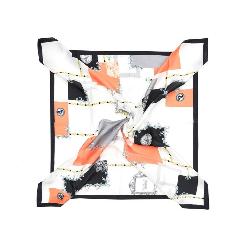 Printed Medium Small Square Women's Stitching a Variety of Mulberry Crepe Satin Real Silk Scarf