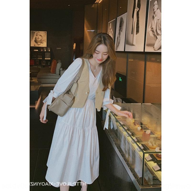 FAkl7 Internet Celebrity nuovo vestito bianco set di autunno delle donne del pannello esterno nuovo vestito dalla maglia francese vestito pannello esterno della maglia a due pezzi p1gc8 2020