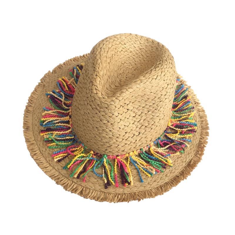 Красочная кисточка лента Украсьте соломенного шляпе затенение ВС H Леди Моды Бич Джаз лето для женщин