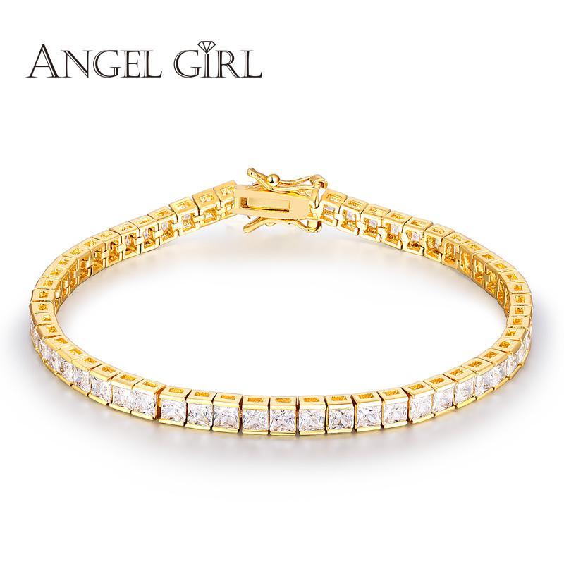 ملاك فتاة + ساحة أنيقة 4.5 ملليمتر تشيكوسلوفاكيا الزركون تنس سحر أساور أساور ذهبي اللون الأميرة قطع تشيكوسلوفاكيا مجوهرات الزفاف