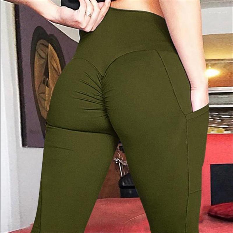 Magro Pocket donna pantaloni di yoga Streetwear vita alta Abbigliamento Donna Solid Color Designer Donne Leggings elastico