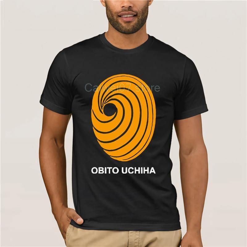 T-shirt de impressão dos homens T-shirt Casual 100% Algodão Popular Naruto Obito Uchiha Anime Homens dos desenhos animados em torno do pescoço legal do homem