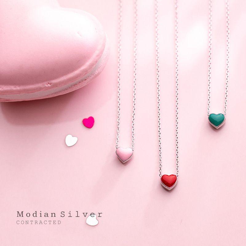 Modian Real 925 Sterling Silver Красный Розовый ожерелье Зеленый Эмаль сердца кулон для женщин Statement Fine Silver Jewelry Воротник