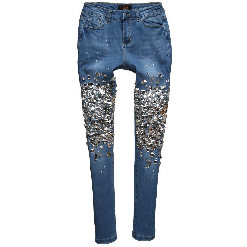 tamaño 31 32 33 mujeres diamante moldeados Jeans Moda delgado flaco pantalones de mezclilla Negro azul más el tamaño de los pantalones