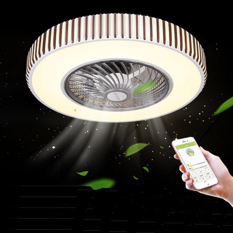 Ventilatori elettrici Bluetooth Ventilatore a soffitto APP Lampada per controllo remoto per sala da pranzo camera da letto 110V / 220V illuminazione a LED multifunzione