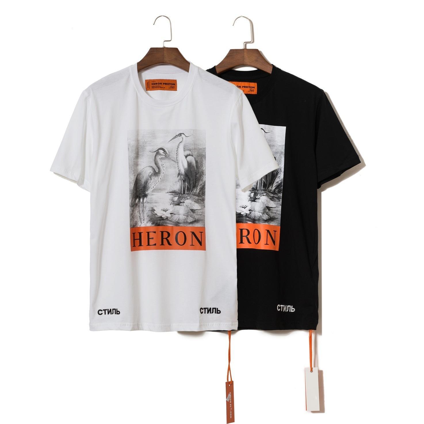 2019 Neue T-Blut gedruckt Kran Sommer Rundhals loser reinen Männer-Schwarz-Weiß-T-Shirt Kurzarm-T-Shirt Trend