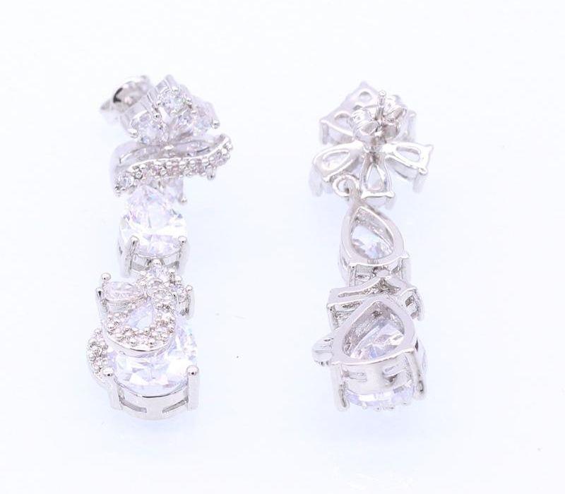 Larga Jinyao lujo de los pendientes para las mujeres nupcial Flores chispeantes zircones Gota de Agua CZ Pendientes de boda Accessories77