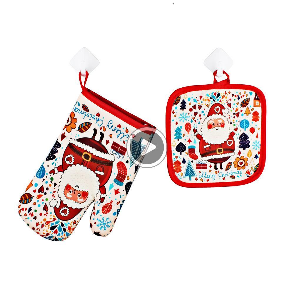 Guantes de Navidad para hornear anti-caliente y la almohadilla de horno y microondas Aislamiento Decoración del partido de Navidad Hogar para Mat to945