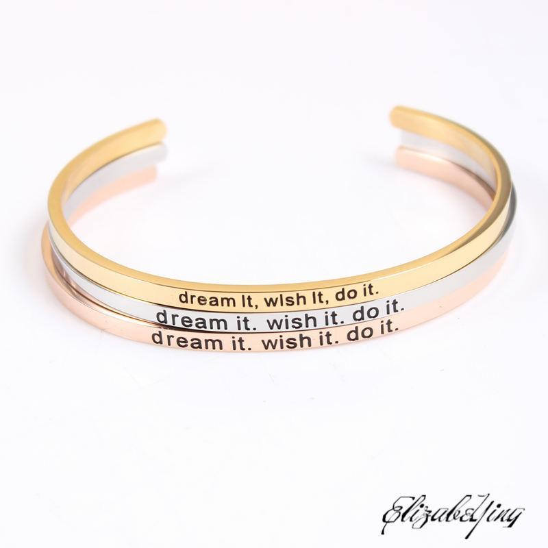2020 de haute qualité Bracelet en acier inoxydable positif Inspiré rêve il souhaite le faire manchette bracelets Mantra Bracelets Bangles