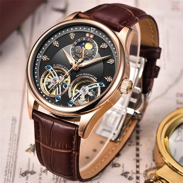 Релох Lige Мужские часы Механические Tourbillon Дизайнерская марка Кожа Мужской Спортивные часы Мужские автоматические часы Relogio 0922 Мужчина для