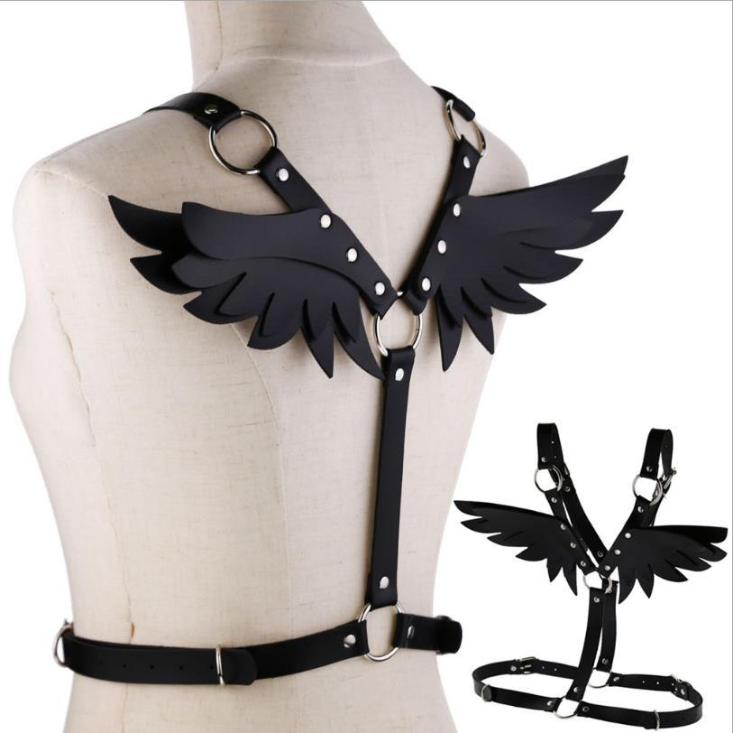 Sexy Women Punk PU Leather Chest Body Harness Waist Straps Wings Corset Bustier Cosplay Clubwear Costume