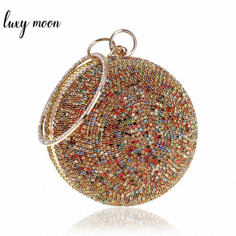 Nouvelle arrivée femmes soirée d'embrayage Sacs cristal pleine de diamants ronds en forme embrayages Lady Sacs à main Bourse de mariage de la chaîne sac à bandoulière XBSi #