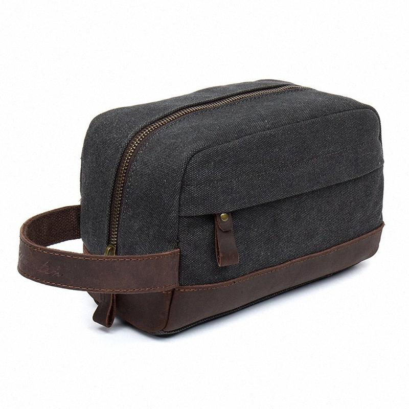 Pelle toilette Beauty Bag Caso Trim Canvas rasatura Dopp Caso Neceser cosmetico di trucco del sacchetto dell'organizzatore del sacchetto di 6nRi #