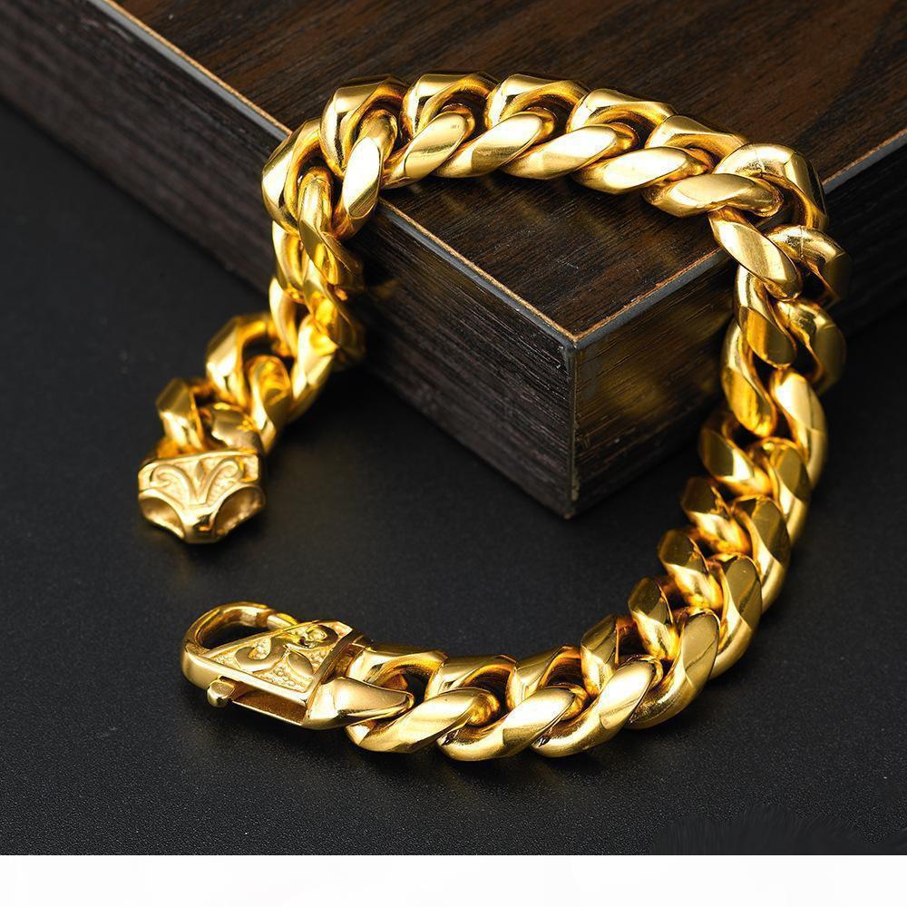 14mm Weit Schwere Gold Silber Cuban Curb Link-Rombo 316L Edelstahl-Armband Herren-Kette Jungen Schmuck