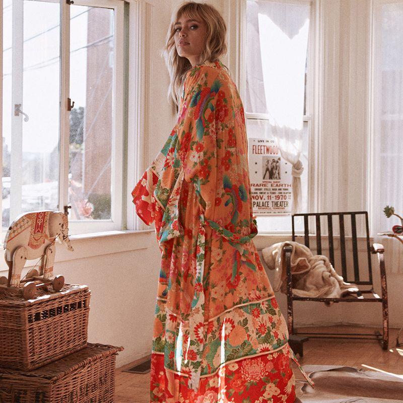 Women Chiffon Kimono Cardigan Floral Printed Long Sleeve Belt Casual Loose Long Outwear Thin Cover Ups Beachwear Plus Size 200925