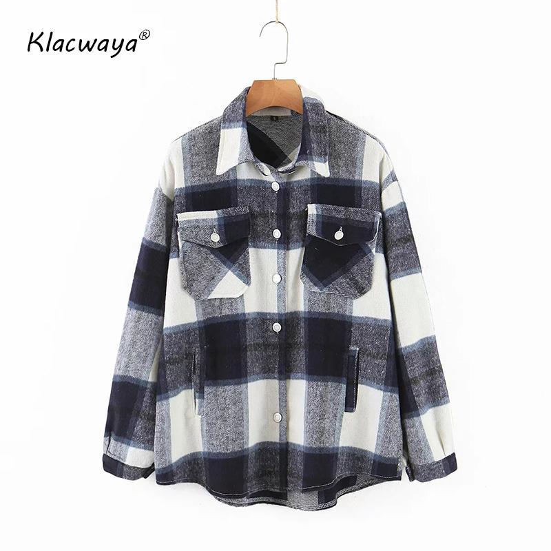 Klacwaya vendimia bolsillos de gran tamaño a cuadros capa de la chaqueta de las mujeres 2020 Moda collar de la solapa de manga larga suelta prendas de vestir exteriores elegante chica remata