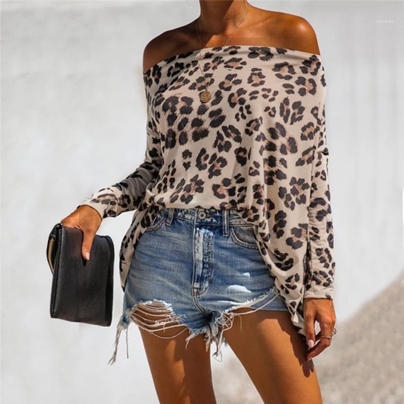여자 패션 레오파드 패턴 자연 색 티셔츠 캐주얼 긴 소매에 목 여성 최고 여성 의류 T 셔츠를 슬래시