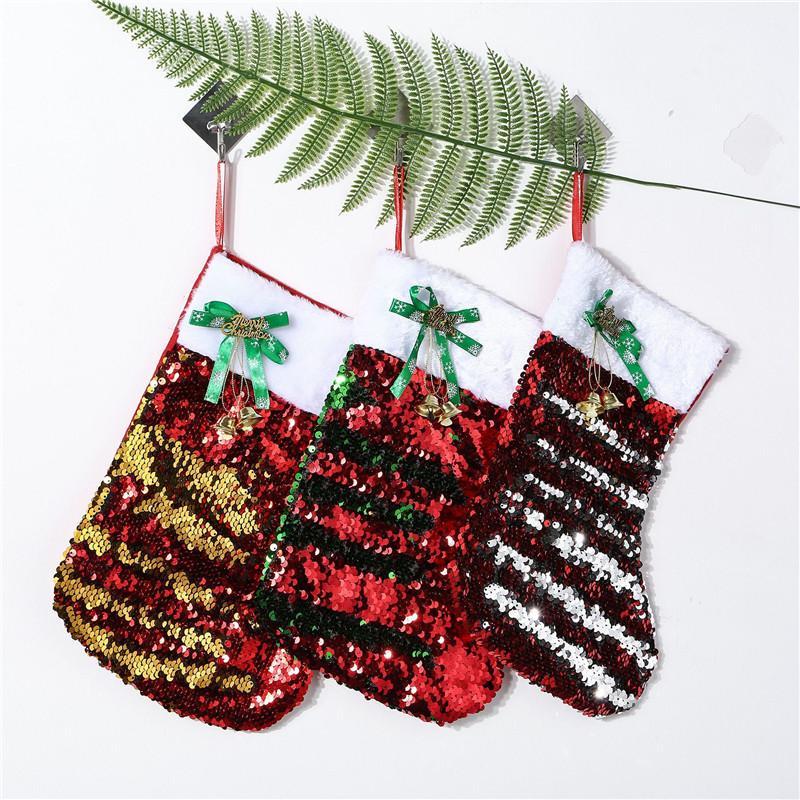 20 * 30CM 2020 Noel Çorap Hediye Çanta Tuval Bling Bling Noel Noel Çorap Büyük Beden Sequins Dekoratif Çorap Çanta Ücretsiz Kargo