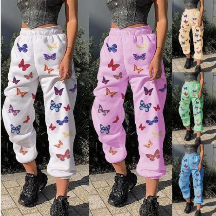 Pantalones de lápiz de diseñador para mujer Pantalones elásticos de la mariposa Impresión de mariposas Casual Primavera Pantalones largos Mujer Cintura media Pantalones sueltos