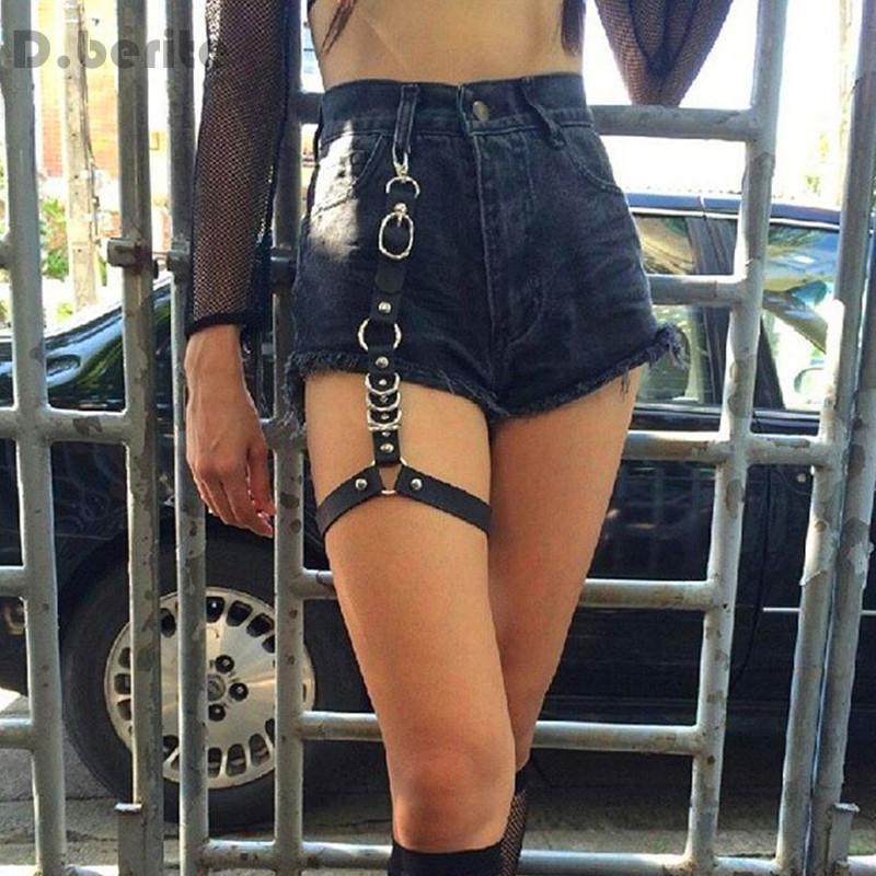 Men Women Fashion Harajuku Single Strap Clip Leather Punk Suspender Hook Adjustable Leg Ring Handmade Sock Garter GPD8296
