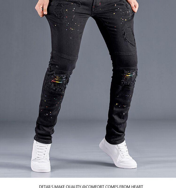 Outono jeans e pintura pistola Homens Inverno Estilo Comércio Exterior Novo rasgado pés pequenos casual jeans calças dos homens magros LS1940