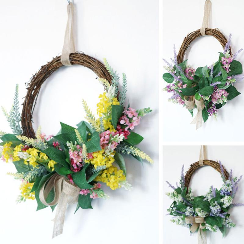 Dekoratif Çiçekler Çelenk Yapay Sahte Çiçek Meyve Çelenk El Yapımı Yuvarlak Garland Tasarım Ön Kapı Duvar Pencere Düğün Parti Için Ev