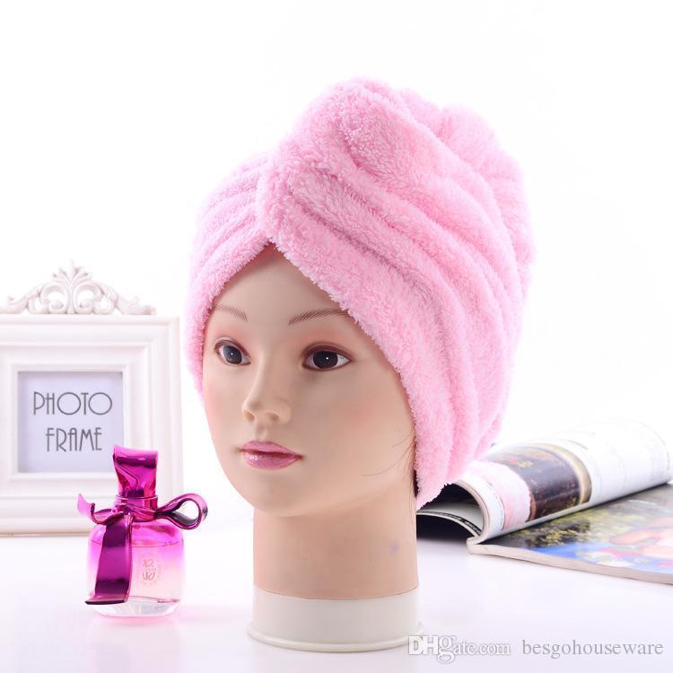 Startseite Badekappen 6 Farben Soft-Dusche Caps Handtuch Magie Quick Dry Haar Mikrofaser Handtuch trocknend Turban Wrap Hut Caps BH0446 TQQ