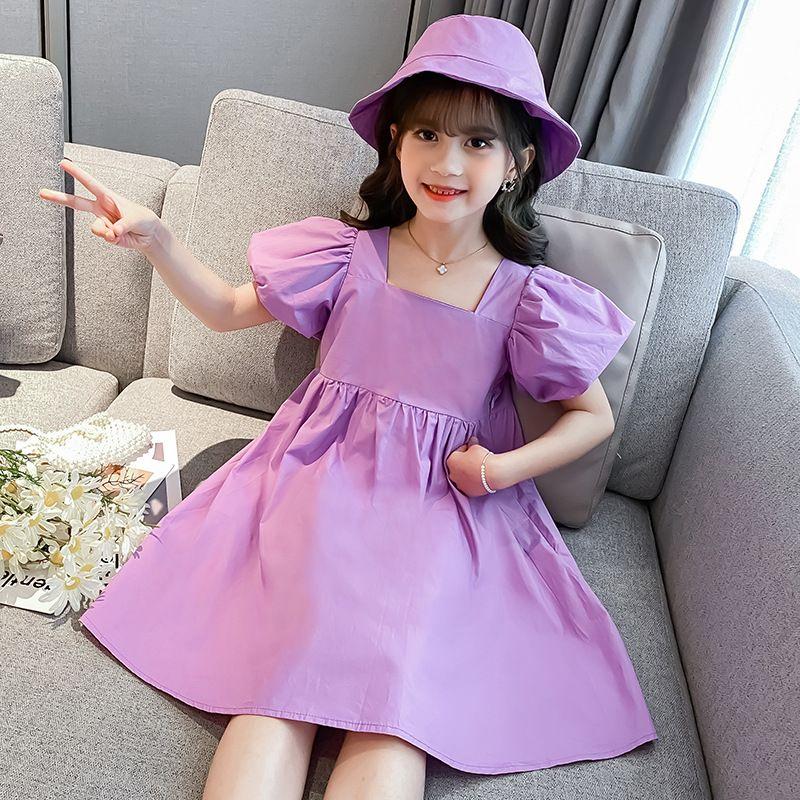 Beiläufige Mädchen Kleider Kurzarm Baumwolle Gelb Pink Light Purple 4 5 6 7 8 9 10 11 12 13 14 Jahre Kinder-Kleid senden Kopfbedeckung Hut