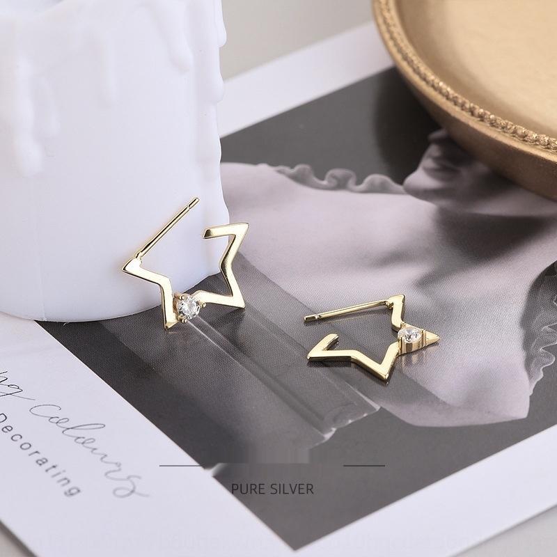 uJc6c 925 Sterling Silber japanischer und koreanische Stil Diamant fünfzackigen Stern offen Ohrstecker in eleganten personalisierte Stern Ohrringe für earr