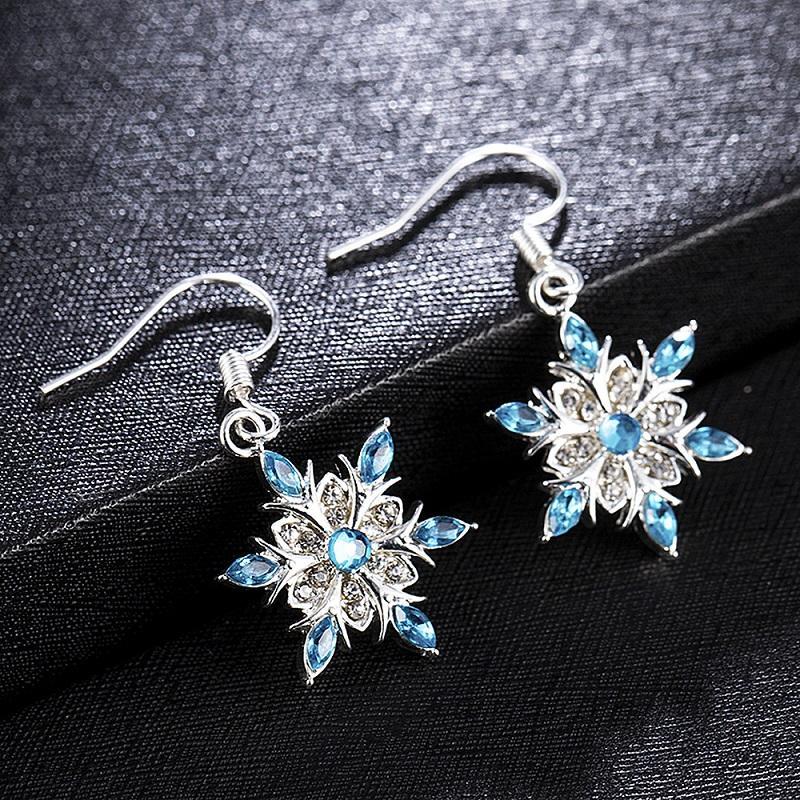Elegant Blue Rhinestone Snowflake Drop Earrings for Women Girls Christmas Jewelry Ear Accessories Gift Statement Cubic Zircon Dangle Earring
