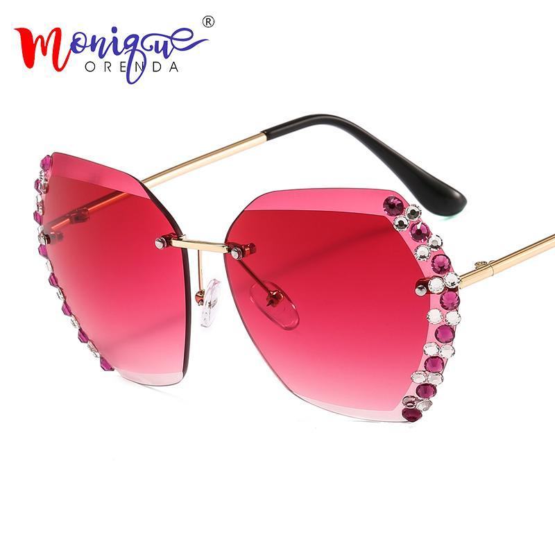 Randlose Strass Side Sonnenbrille Linse Diamantrahmen Luxus Glas Dame Gradient Klar Retro Gold Männer Bunte Sonne Frau Eyewear SSFEO